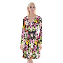 Beautiful,floral,hand painted, flowers,black,background,modern,trendy,girly,retro Long Sleeve Velvet Front Wrap Dress