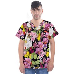 Beautiful,floral,hand painted, flowers,black,background,modern,trendy,girly,retro Men s V-Neck Scrub Top