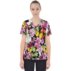Beautiful,floral,hand painted, flowers,black,background,modern,trendy,girly,retro Scrub Top