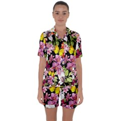 Beautiful,floral,hand painted, flowers,black,background,modern,trendy,girly,retro Satin Short Sleeve Pyjamas Set