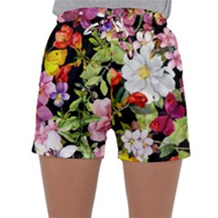 Beautiful,floral,hand painted, flowers,black,background,modern,trendy,girly,retro Sleepwear Shorts