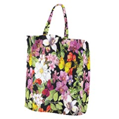 Beautiful,floral,hand painted, flowers,black,background,modern,trendy,girly,retro Giant Grocery Zipper Tote