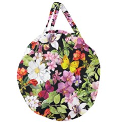 Beautiful,floral,hand Painted, Flowers,black,background,modern,trendy,girly,retro Giant Round Zipper Tote by 8fugoso