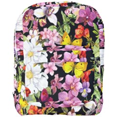 Beautiful,floral,hand painted, flowers,black,background,modern,trendy,girly,retro Full Print Backpack