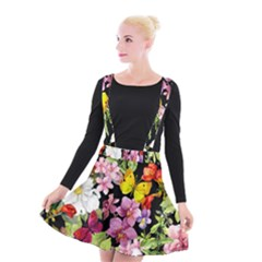 Beautiful,floral,hand painted, flowers,black,background,modern,trendy,girly,retro Suspender Skater Skirt
