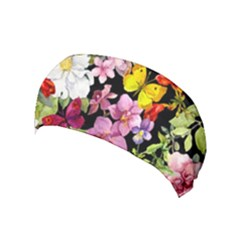 Beautiful,floral,hand painted, flowers,black,background,modern,trendy,girly,retro Yoga Headband