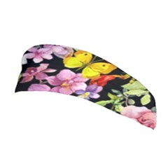 Beautiful,floral,hand painted, flowers,black,background,modern,trendy,girly,retro Stretchable Headband