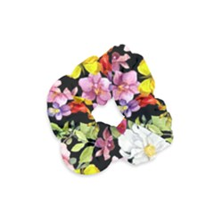 Beautiful,floral,hand painted, flowers,black,background,modern,trendy,girly,retro Velvet Scrunchie