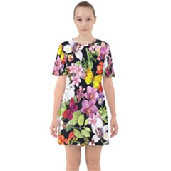 Beautiful,floral,hand painted, flowers,black,background,modern,trendy,girly,retro Sixties Short Sleeve Mini Dress