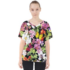 Beautiful,floral,hand painted, flowers,black,background,modern,trendy,girly,retro V-Neck Dolman Drape Top