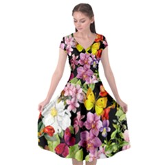 Beautiful,floral,hand painted, flowers,black,background,modern,trendy,girly,retro Cap Sleeve Wrap Front Dress