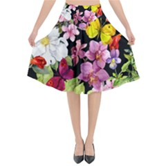 Beautiful,floral,hand painted, flowers,black,background,modern,trendy,girly,retro Flared Midi Skirt