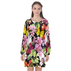 Beautiful,floral,hand painted, flowers,black,background,modern,trendy,girly,retro Long Sleeve Chiffon Shift Dress