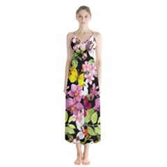 Beautiful,floral,hand painted, flowers,black,background,modern,trendy,girly,retro Button Up Chiffon Maxi Dress