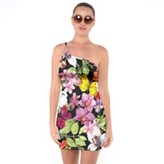 Beautiful,floral,hand painted, flowers,black,background,modern,trendy,girly,retro One Soulder Bodycon Dress
