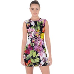 Beautiful,floral,hand painted, flowers,black,background,modern,trendy,girly,retro Lace Up Front Bodycon Dress
