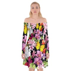 Beautiful,floral,hand painted, flowers,black,background,modern,trendy,girly,retro Off Shoulder Skater Dress