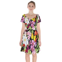 Beautiful,floral,hand painted, flowers,black,background,modern,trendy,girly,retro Short Sleeve Bardot Dress
