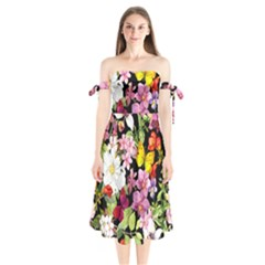 Beautiful,floral,hand painted, flowers,black,background,modern,trendy,girly,retro Shoulder Tie Bardot Midi Dress