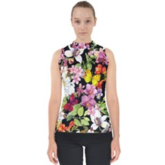 Beautiful,floral,hand painted, flowers,black,background,modern,trendy,girly,retro Shell Top
