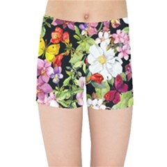 Beautiful,floral,hand painted, flowers,black,background,modern,trendy,girly,retro Kids Sports Shorts