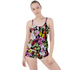 Beautiful,floral,hand painted, flowers,black,background,modern,trendy,girly,retro Boyleg Tankini Set