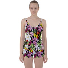 Beautiful,floral,hand painted, flowers,black,background,modern,trendy,girly,retro Tie Front Two Piece Tankini