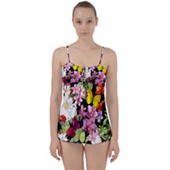 Beautiful,floral,hand painted, flowers,black,background,modern,trendy,girly,retro Babydoll Tankini Set