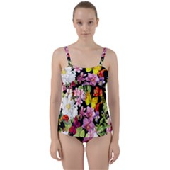 Beautiful,floral,hand painted, flowers,black,background,modern,trendy,girly,retro Twist Front Tankini Set