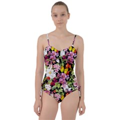 Beautiful,floral,hand painted, flowers,black,background,modern,trendy,girly,retro Sweetheart Tankini Set
