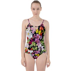 Beautiful,floral,hand painted, flowers,black,background,modern,trendy,girly,retro Cut Out Top Tankini Set
