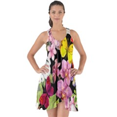 Beautiful,floral,hand painted, flowers,black,background,modern,trendy,girly,retro Show Some Back Chiffon Dress