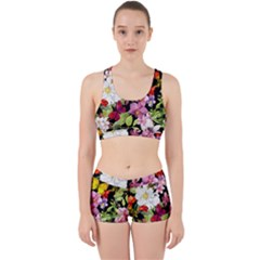Beautiful,floral,hand painted, flowers,black,background,modern,trendy,girly,retro Work It Out Sports Bra Set