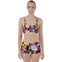 Beautiful,floral,hand painted, flowers,black,background,modern,trendy,girly,retro Women s Sports Set