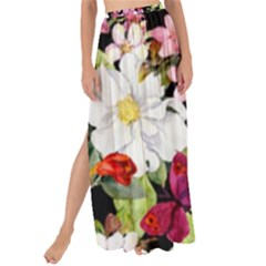 Beautiful,floral,hand painted, flowers,black,background,modern,trendy,girly,retro Maxi Chiffon Tie-Up Sarong
