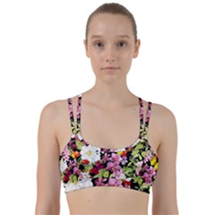 Beautiful,floral,hand painted, flowers,black,background,modern,trendy,girly,retro Line Them Up Sports Bra