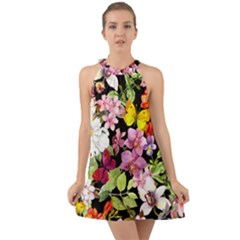 Beautiful,floral,hand painted, flowers,black,background,modern,trendy,girly,retro Halter Tie Back Chiffon Dress