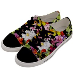Beautiful,floral,hand painted, flowers,black,background,modern,trendy,girly,retro Men s Low Top Canvas Sneakers