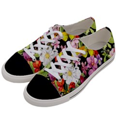 Beautiful,floral,hand painted, flowers,black,background,modern,trendy,girly,retro Women s Low Top Canvas Sneakers