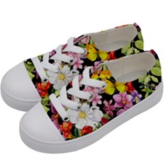 Beautiful,floral,hand painted, flowers,black,background,modern,trendy,girly,retro Kids  Low Top Canvas Sneakers