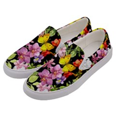 Beautiful,floral,hand painted, flowers,black,background,modern,trendy,girly,retro Men s Canvas Slip Ons