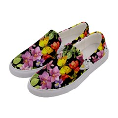 Beautiful,floral,hand painted, flowers,black,background,modern,trendy,girly,retro Women s Canvas Slip Ons