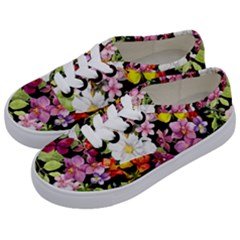 Beautiful,floral,hand painted, flowers,black,background,modern,trendy,girly,retro Kids  Classic Low Top Sneakers