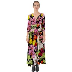 Beautiful,floral,hand painted, flowers,black,background,modern,trendy,girly,retro Button Up Boho Maxi Dress