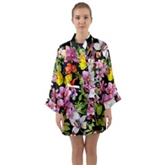 Beautiful,floral,hand painted, flowers,black,background,modern,trendy,girly,retro Long Sleeve Kimono Robe