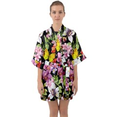 Beautiful,floral,hand painted, flowers,black,background,modern,trendy,girly,retro Quarter Sleeve Kimono Robe
