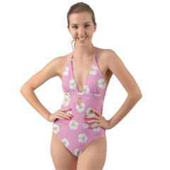 Pink Flowers Halter Cut Out One Piece Swimsuit by 8fugoso
