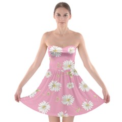 Pink Flowers Strapless Bra Top Dress by 8fugoso