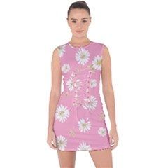 Pink Flowers Lace Up Front Bodycon Dress