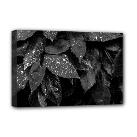 Black And White Leaves Photo Deluxe Canvas 18  X 12   by dflcprintsclothing